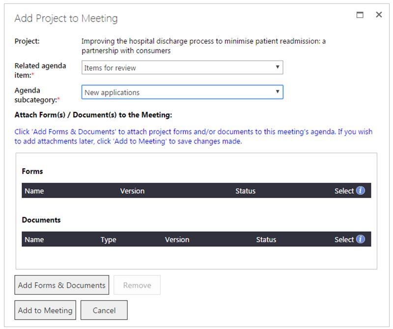 Manage a meeting agenda